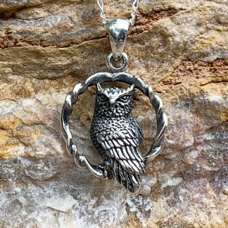 Sterling Owl Circle Pendant