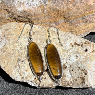 Tigers Eye Silver Dangle Earrings
