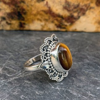 Tiger Eye Heart Ring
