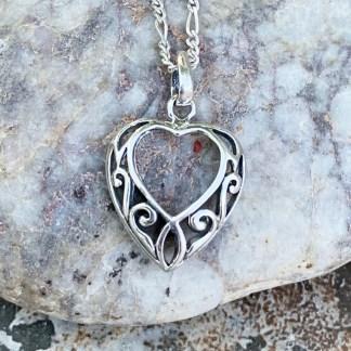 Silver Open Heart Pendant