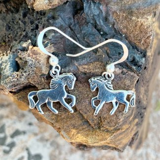 Silver Horse Dangle Earrings