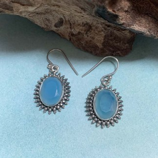 Blue Chalcedony & Sterling Earrings