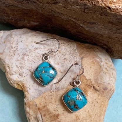 Blue Copper Turquoise Earrings