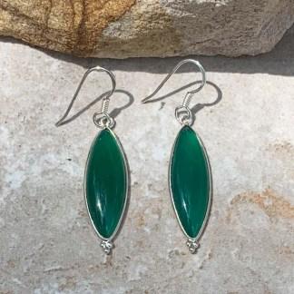 Green Onyx & Sterling Earrings