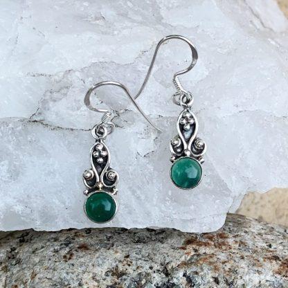 Green Onyx Fan Earrings