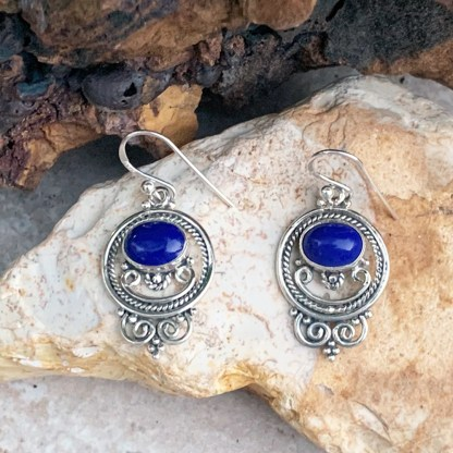 Lapis Lazuli Bali Earrings
