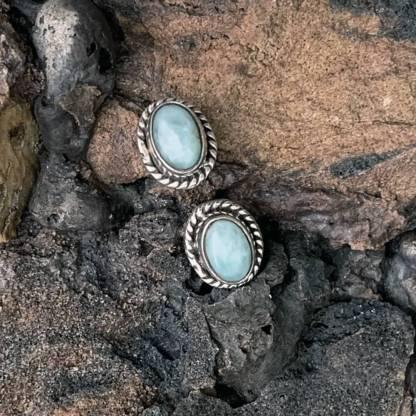 Larimar Sterling Stud Earrings