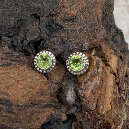 Peridot & Sterling Stud Earrings