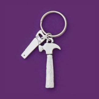 Hammer & Saw Pewter Keychain