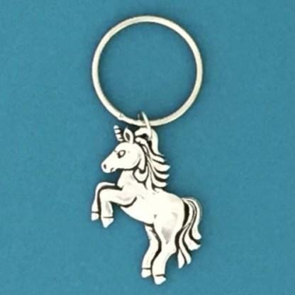 Happy Unicorn Pewter Keychain