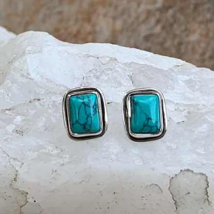 Turquoise & Sterling Rectangular Studs
