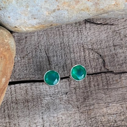 Green Onyx Sterling Studs