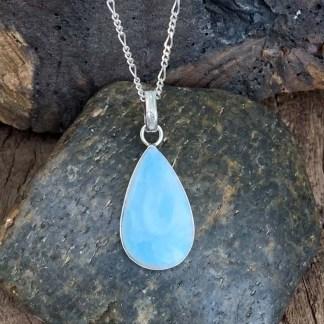Larimar Blue Stone Silver Pendant