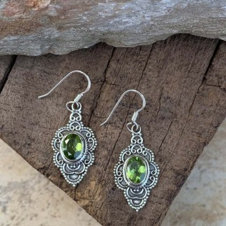 Peridot Sterling Filigree Earrings