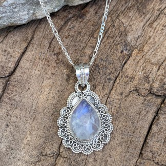 Rainbow Moonstone Sterling Pendant
