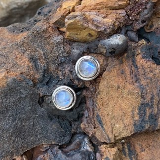 Rainbow Moonstone Sterling Studs