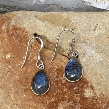 Sterling Labradorite Pear Earrings
