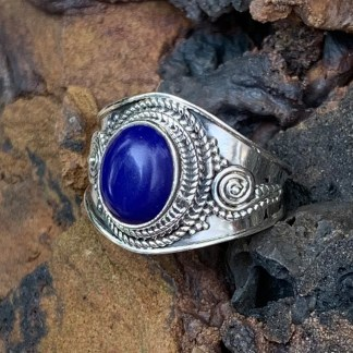 Sterling Lapis Oval Ring