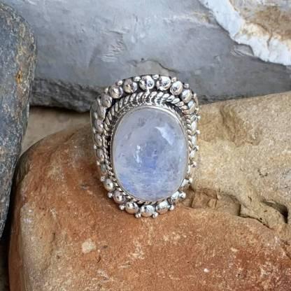 Rainbow Moonstone Crown Ring