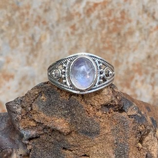 Sterling Rainbow Moonstone Ring