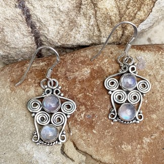 Rainbow Moonstone Spiral Earrings