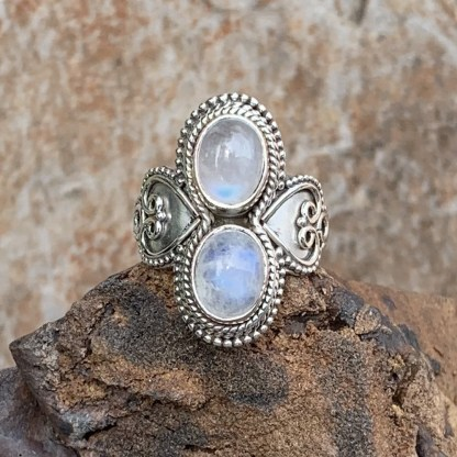 Rainbow Moonstone Hearts Ring