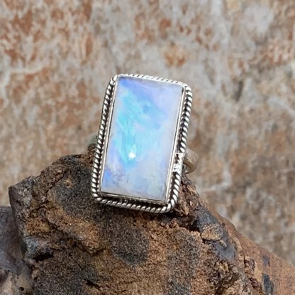 Rainbow Moonstone Rectangular Ring