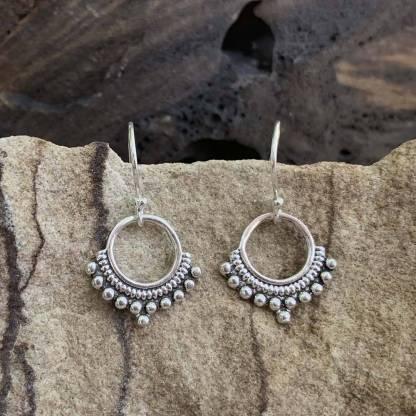 Sterling Ball Hoop Earrings