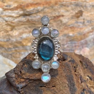 Labradorite & Rainbow Moonstone Ring
