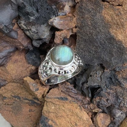 Pale Labradorite Sterling Ring