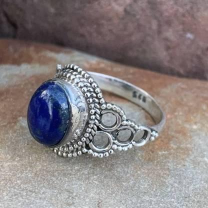 Sterling Lapis Circle Ring