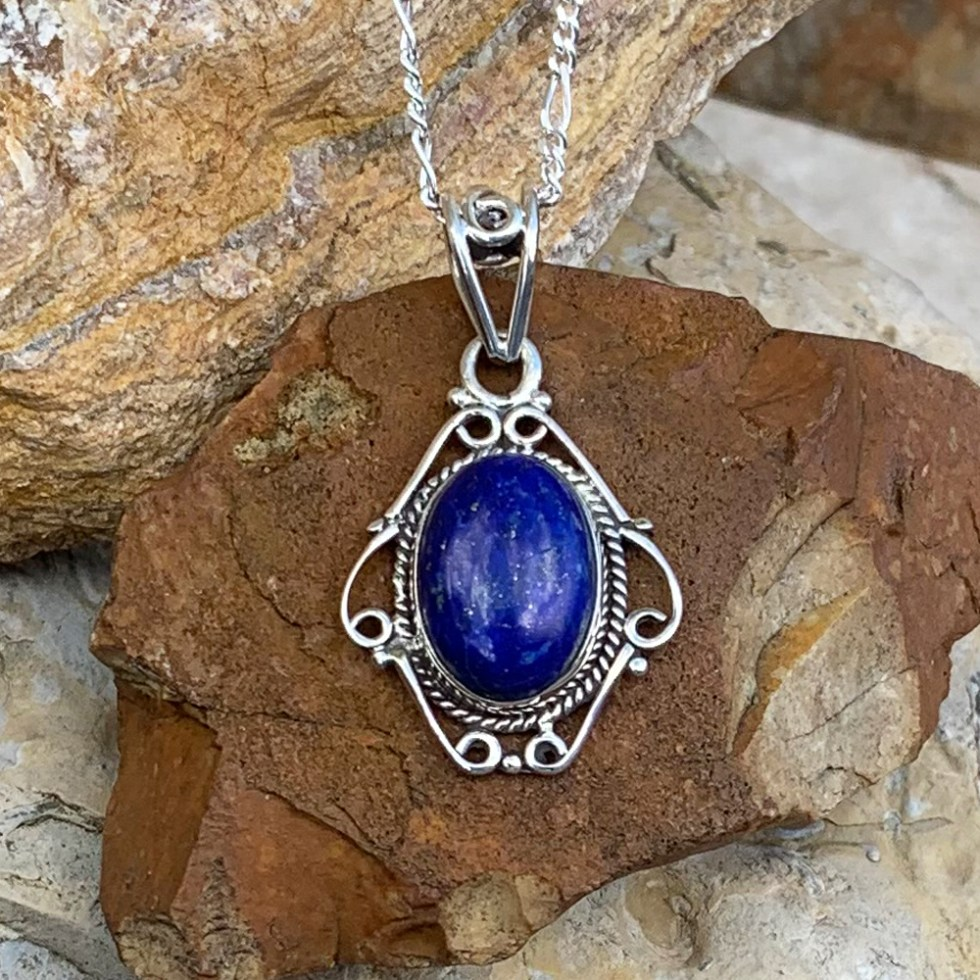 Sterling Lapis Oval Pendant