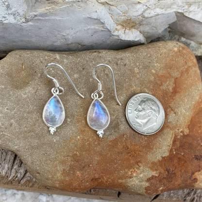 Rainbow Moonstone Pear-Shaped Earrings
