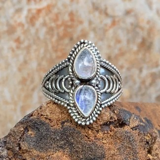 Double Rainbow Moonstone Ring