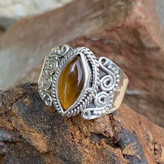 Tiger's Eye Marquise Ring