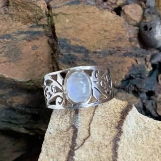 Sterling-Filigree Rainbow Moonstone Ring