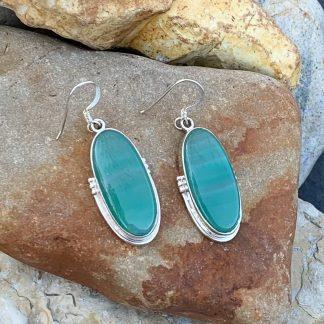 Green Botswana Agate Earrings