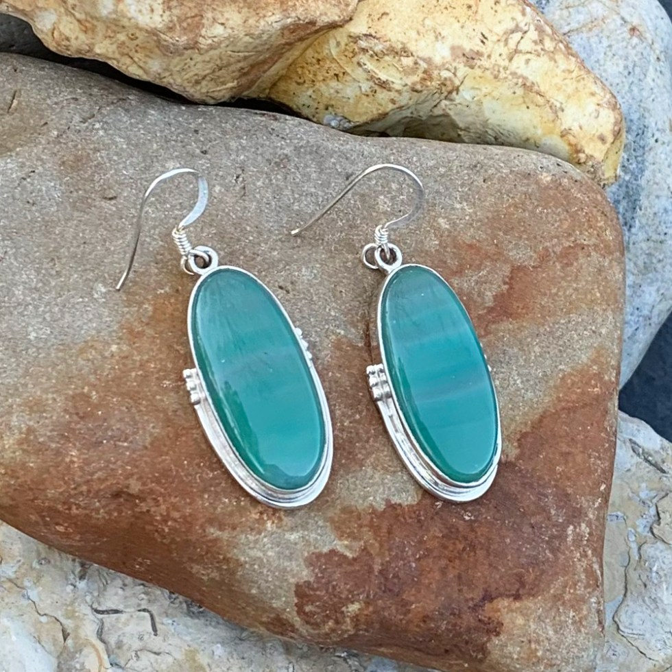Green Botswana Agate Earrings