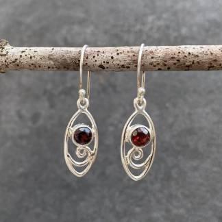 Open Scroll Garnet Earrings