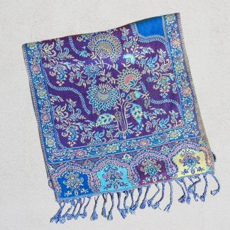 Turquoise & Plum Floral-Paisley Scarf