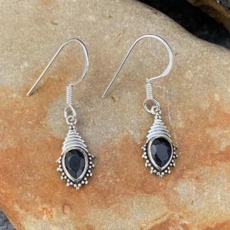 Dainty Black Onyx Earrings