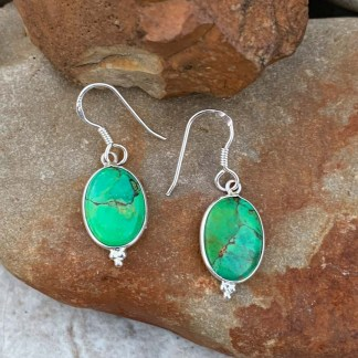 Green Copper Turquoise Earrings