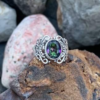 Filigree Mystic Topaz Ring
