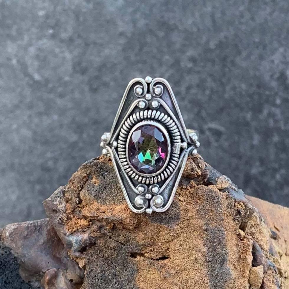 Sterling Mystic Topaz Ring