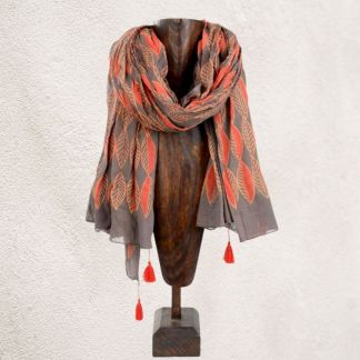 Brown & Orange Leaf Scarf