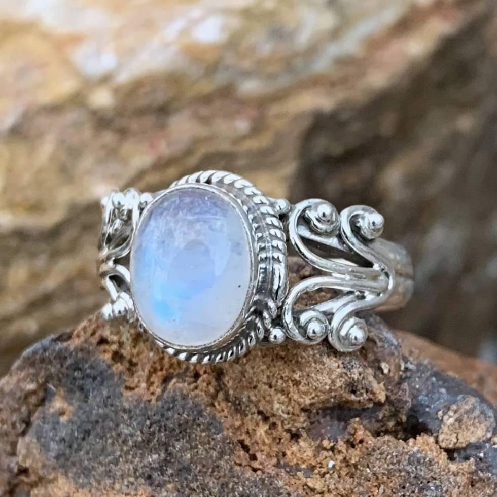 Rainbow Moonstone Fountain Ring