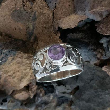 Sterling Amethyst Filigree Ring
