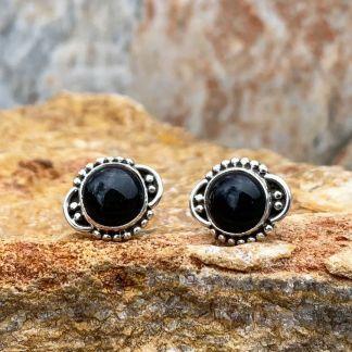 Black Onyx & Silver Studs
