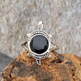 Black Onyx Turtle Ring