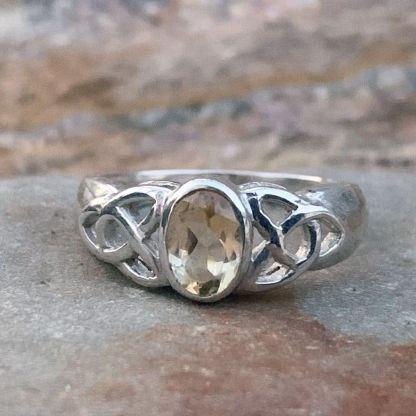 Sterling Celtic Citrine Ring